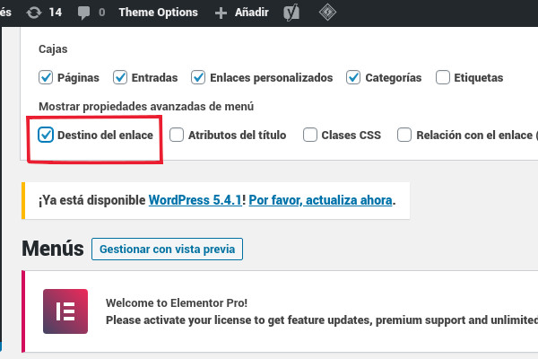 Habilitando la opción para abrir enlaces en una nueva pestaña desde el menú en WordPress