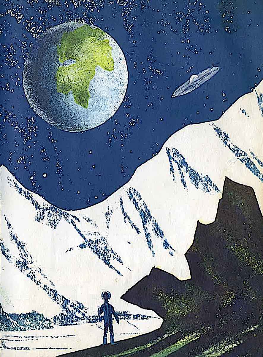 a Leonard Weisgard illustration of an astrnaut on the moon looking at Earth