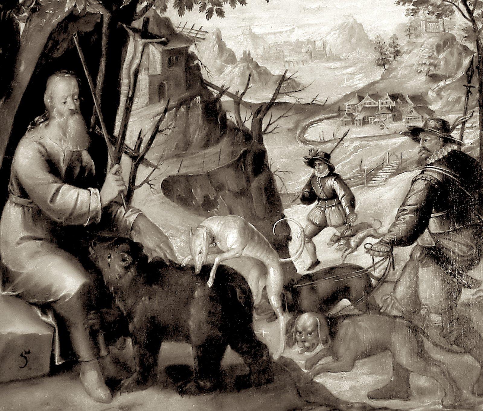 Медведь спасается у ног святого Герольда.