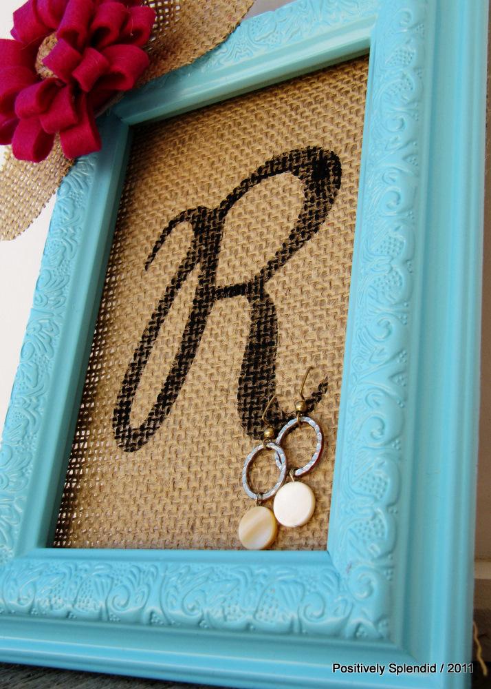 Framed Burlap Earring Holder Tutorial - Positively Splendid {Crafts ...