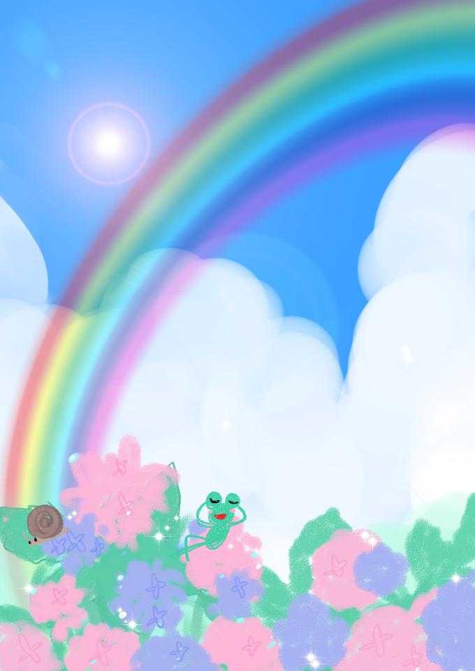 虹とカエルと青い空とアジサイ。