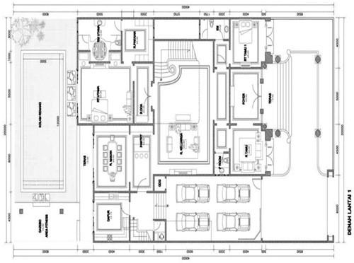 gambar denah rumah mewah satu lantai 2