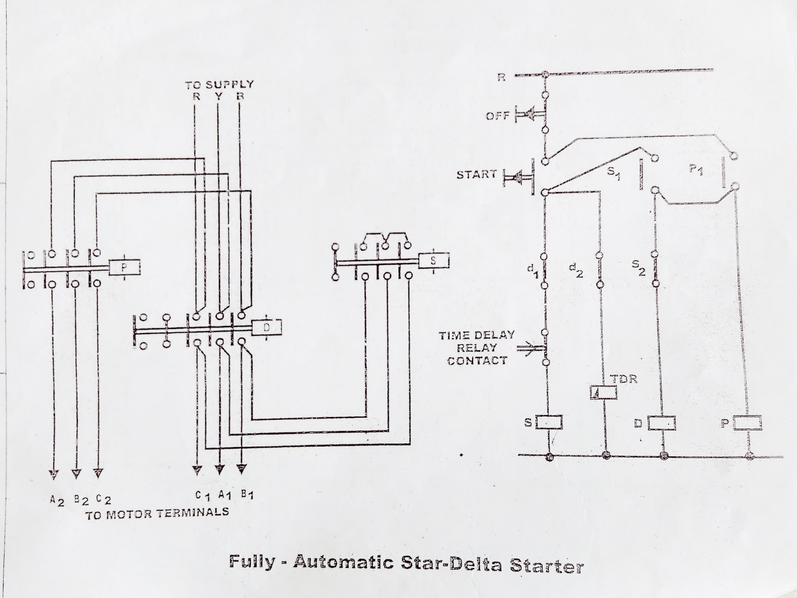 Star Delta Starter control diagram working principle