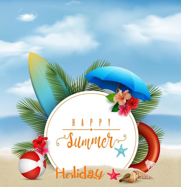 Summer beach background vectors design free vector