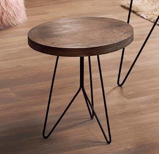 mesa auxiliar de forja y madera redonda