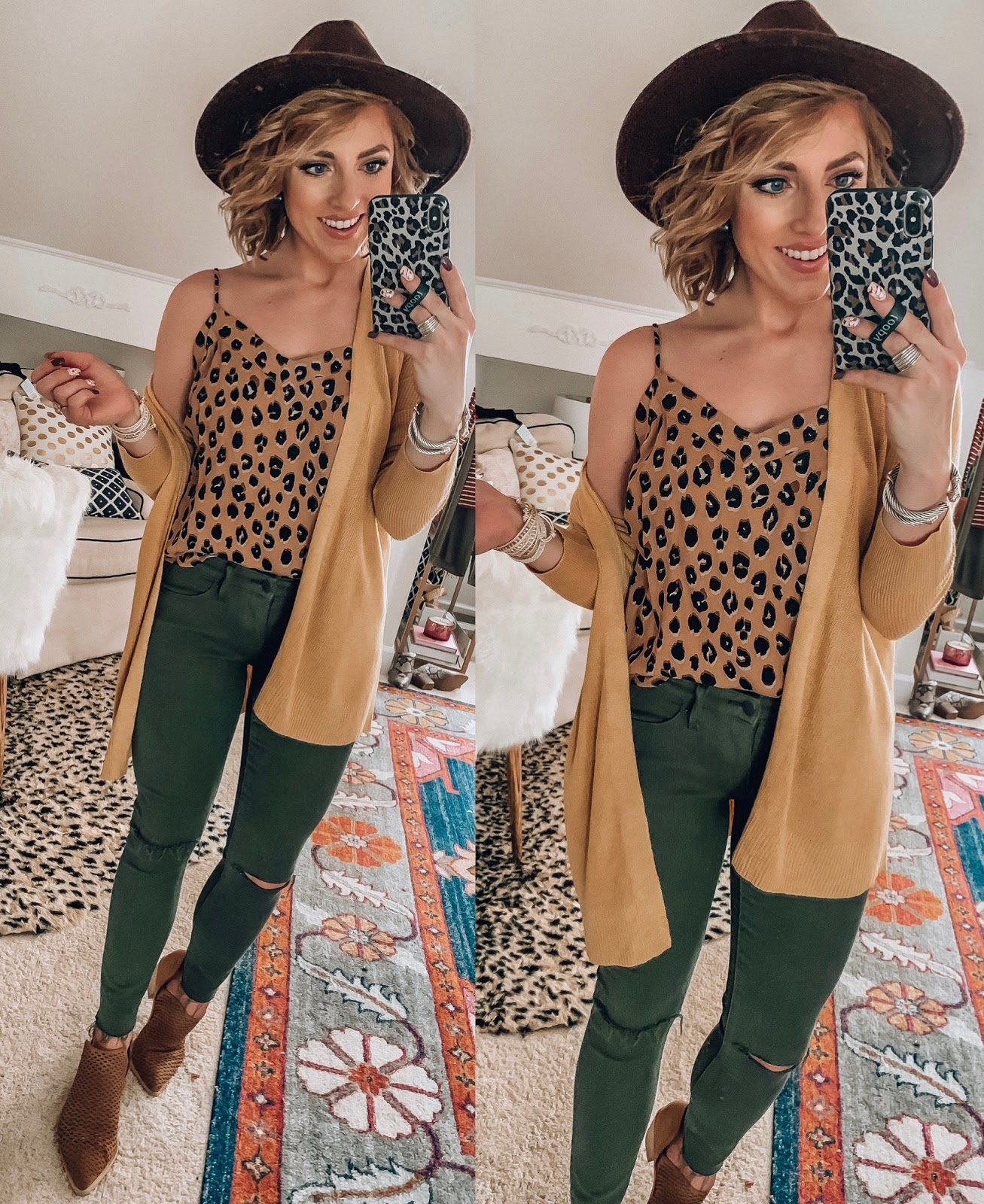 Target Fall Finds: Part Three - $23 Ribbed Cardigan, Leopard Cami and Olive Green Jeggings - Something Delightful Blog #FallStyle #TargetStye