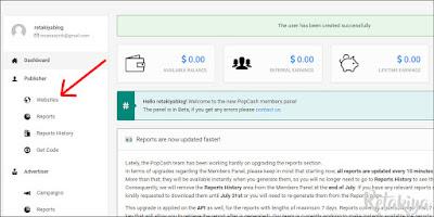 cara menambahkan website di popcash 2019