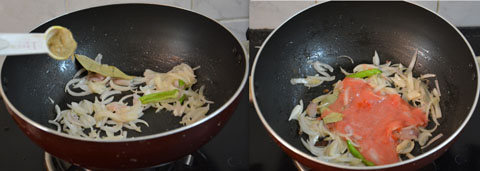 sauteing onions and tomato puree