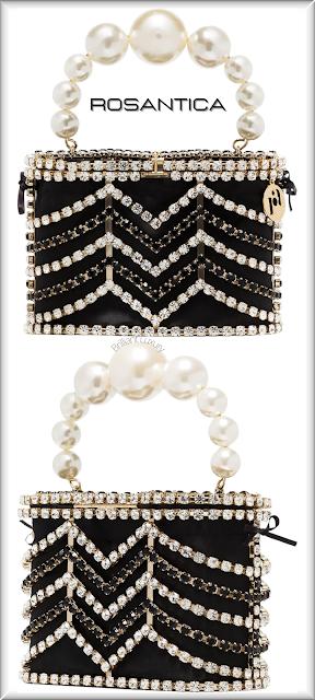 Rosantica black Holli crystal chevron mini bag #bags #eveningbags #rosantica #brilliantluxury