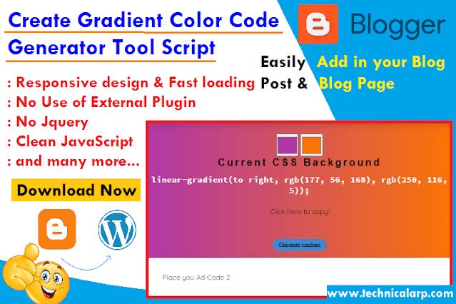 Create Gradient Color Code Generator Tool blogger script