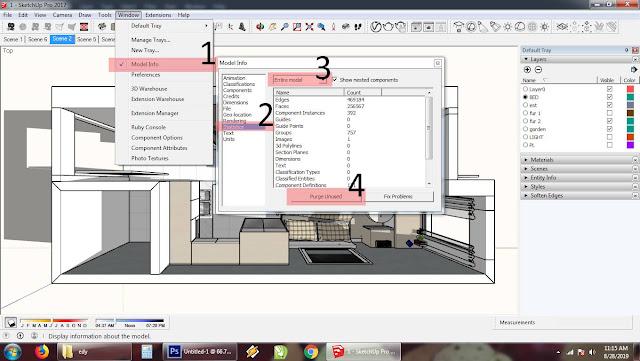 Cara meringankan kerja sketchup - Purge Unused Material
