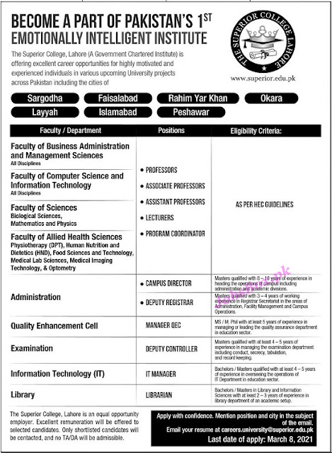 the-superior-college-lahore-jobs-2021-latest-apply-online