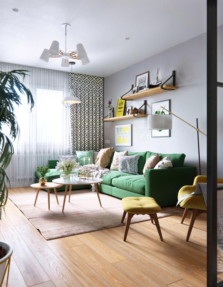 Stylowa aranżacja mieszkania z kolorowymi detalami - wystrój wnętrz, wnętrza, urządzanie mieszkania, dom, home decor, dekoracje, aranżacja wnętrz, minty inspirations, styl skandynawski, nowoczesne wnętrze, naturalne drewno, kolorowe akcenty, geometryczne wzory, stylowe wnętrze, salon, pokój dzienny, living room, zielona sofa, kanapa, fotel z podnóżkiem, szary salon, drewniane półki