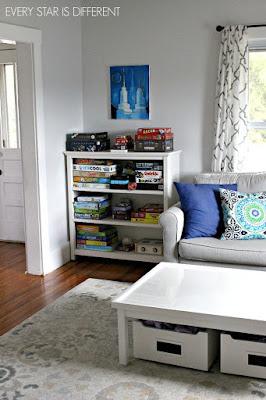 A Minimalist Montessor Home Tour: Board Game Storage