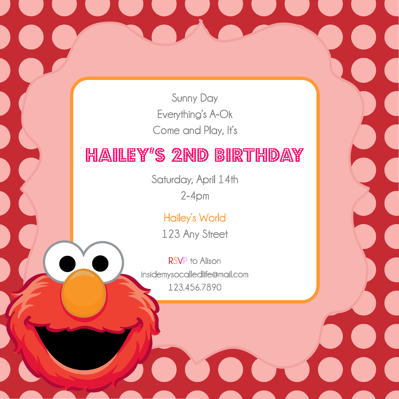 Elmo Template printable emo inspired party invitations template – Birthday Template Invitations