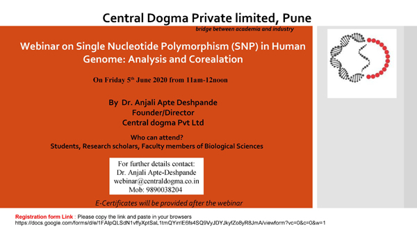 Central Dogma Pune Webinars on SNP/Plant Metabolites/PCR/Gene Tranfer Methods
