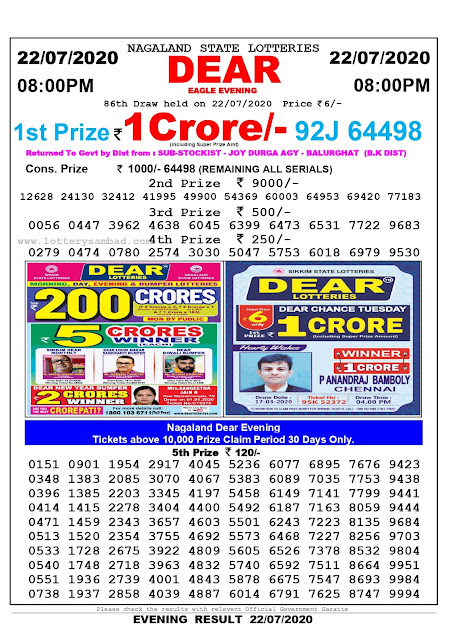 Lottery Sambad Results Today 8 PM 22-07-2020