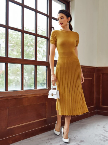 Mustard yellow ribbed sweater dress