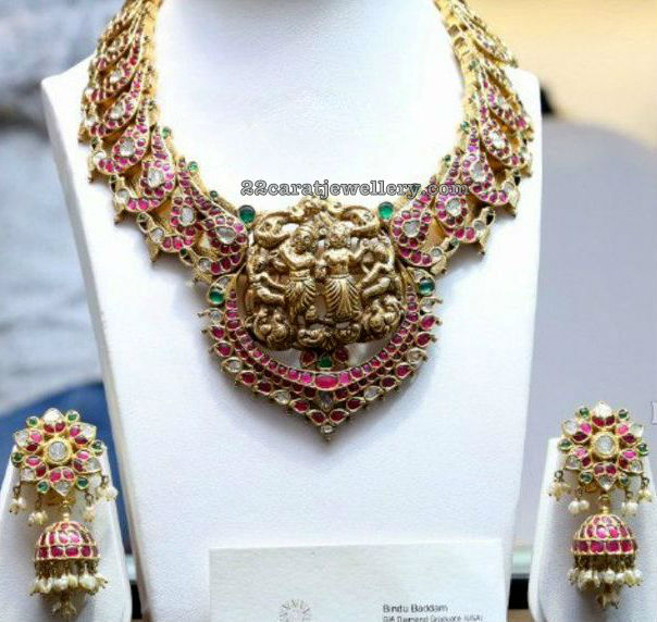 Mango Set with Krishna Pendant Heavy Jhumkas