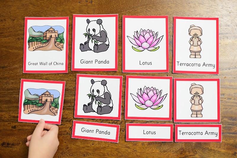 COUNTRY STUDY CHINA: Montessori 3 Part Cards
