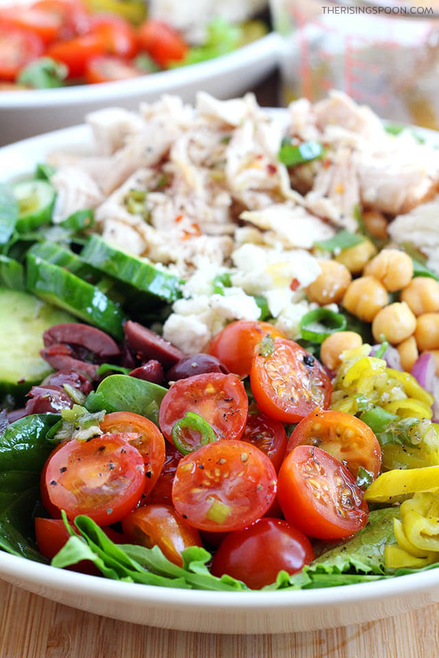 Mediterranean Salad with Chicken (Easy Recipe Idea For Using Leftover Chicken)