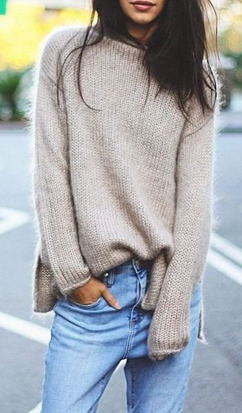knit and denim   nude sweater + jeans
