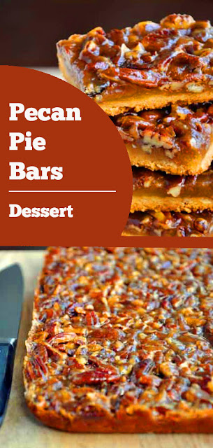 Pecan Pie Bars - These bars pack the classic pecan pie flavor sans all the chilling, rolling and blind-baking that accompanies a golden brown crust. #pecan #pie #bars #pecanpie #dessert