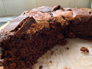 Gluten Free Chocolate Peanut Butter Marshmallow Cake Inside Close Up