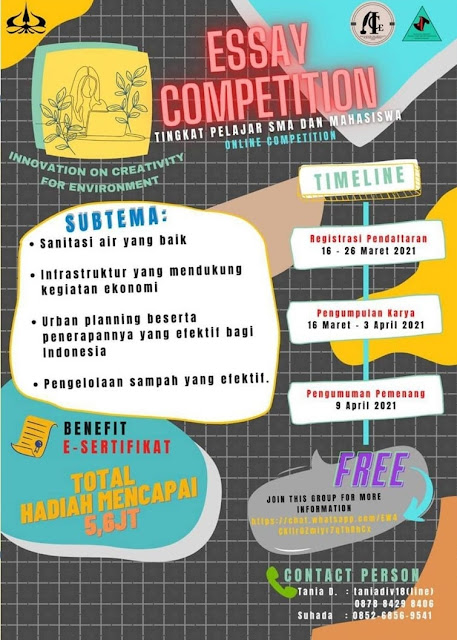 ESSAY COMPETITION  📚 Tema: Innovation on Creativity for Environment 