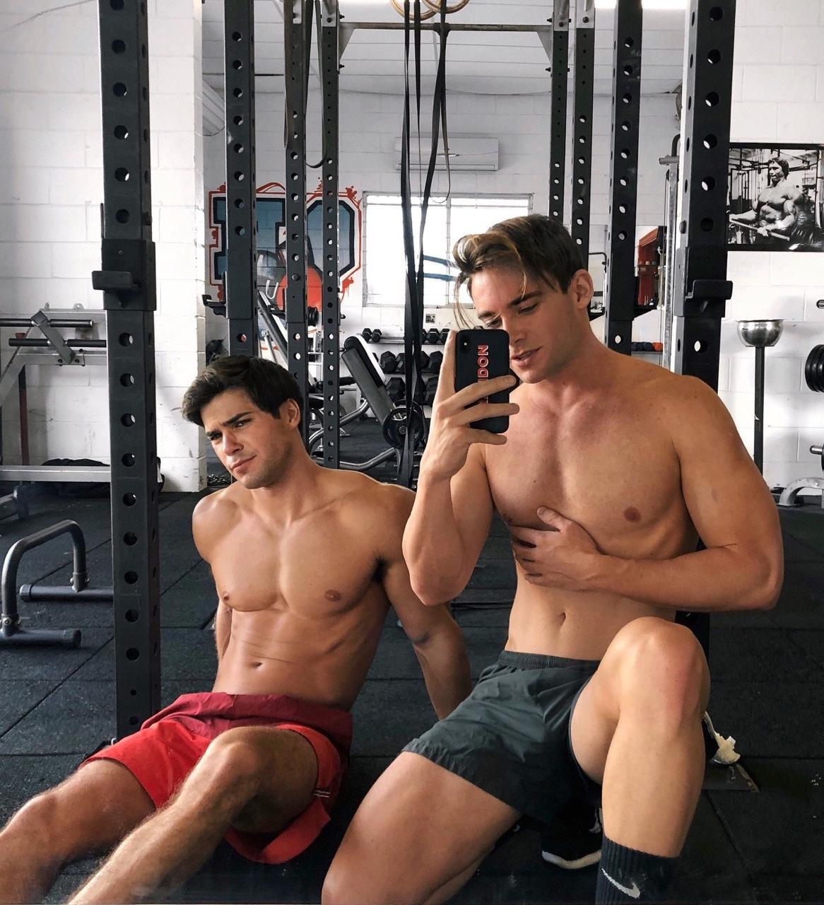 two-fit-shirtless-hot-gym-buddies-selfie