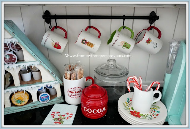 Cottage- Farmhouse- Christmas -Kitchen -Tour-Hot-Cocoa-Mugs-From My Front Porch To Yours