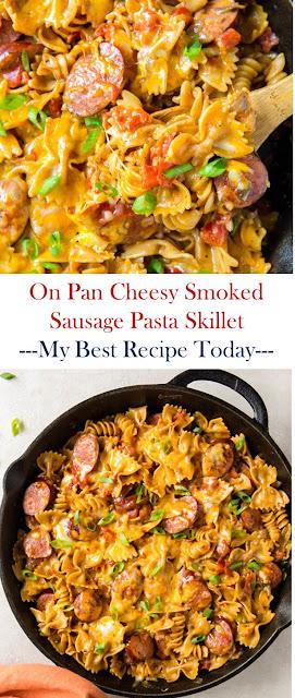 On Pan Cheesy Smoked Sausage Pasta Skillet #OnPanCheesySmokedSausagePastaSkillet #OnPan #Cheesy #Smoked #Sausage #Pasta #Skillet