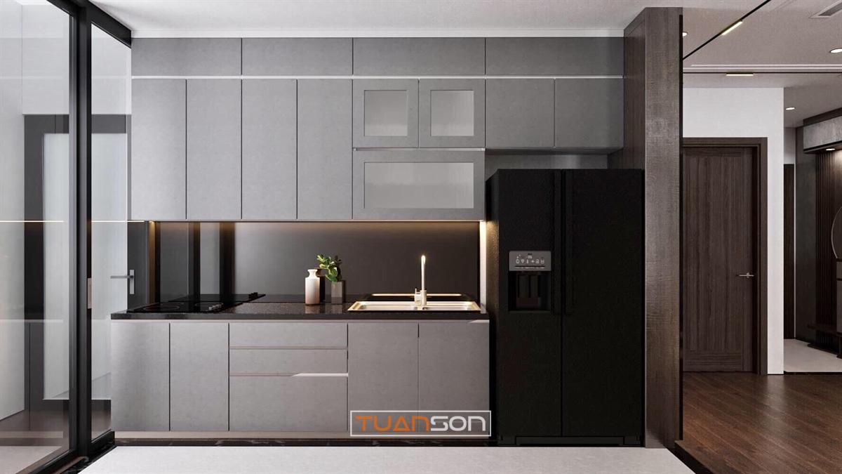 Thiết kế phòng bếp mẫu 7: Phong cách hiện đại màu gỗ sang trọng
