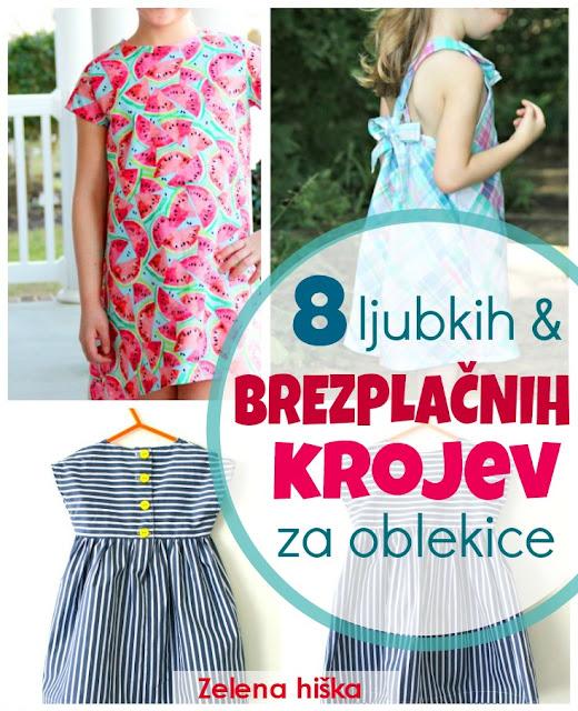 Šivanje in Zelena hiška - brezplačni kroji za poletne oblekice za deklice. Odlični šiviljski projekti, tudi za začetnice - poleg vseh krojev so tudi navodila za šivanje po korakih.