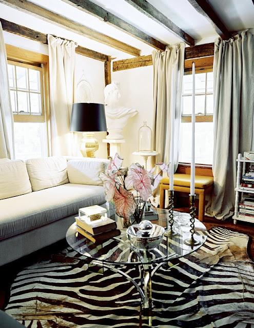 Zebra Decor Living Room: Zebra Rug Hide Pillows Accent Bold Graphic Inspiration