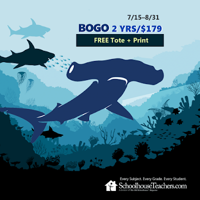 BOGO 2 Yrs/$179 Free tote & print; 7/15-8/31; shark clipart in background