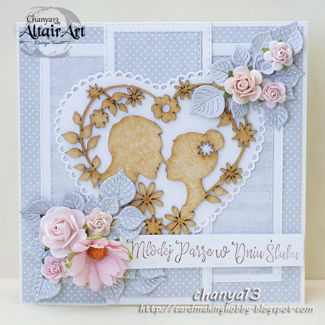 136. Popielato-różowa kartka ślubna