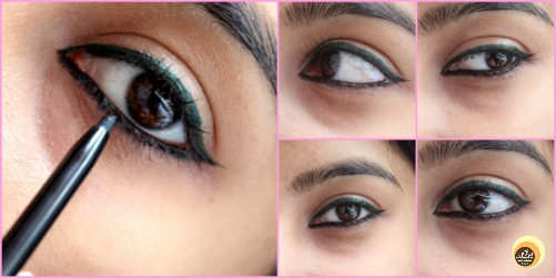 EOTD & Swatches of Nykaa Rock The Line Kajal Jet Black 001