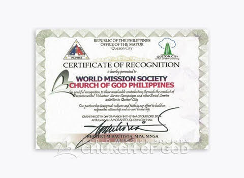 Certificate of Recognition mula sa Quezon City Mayor