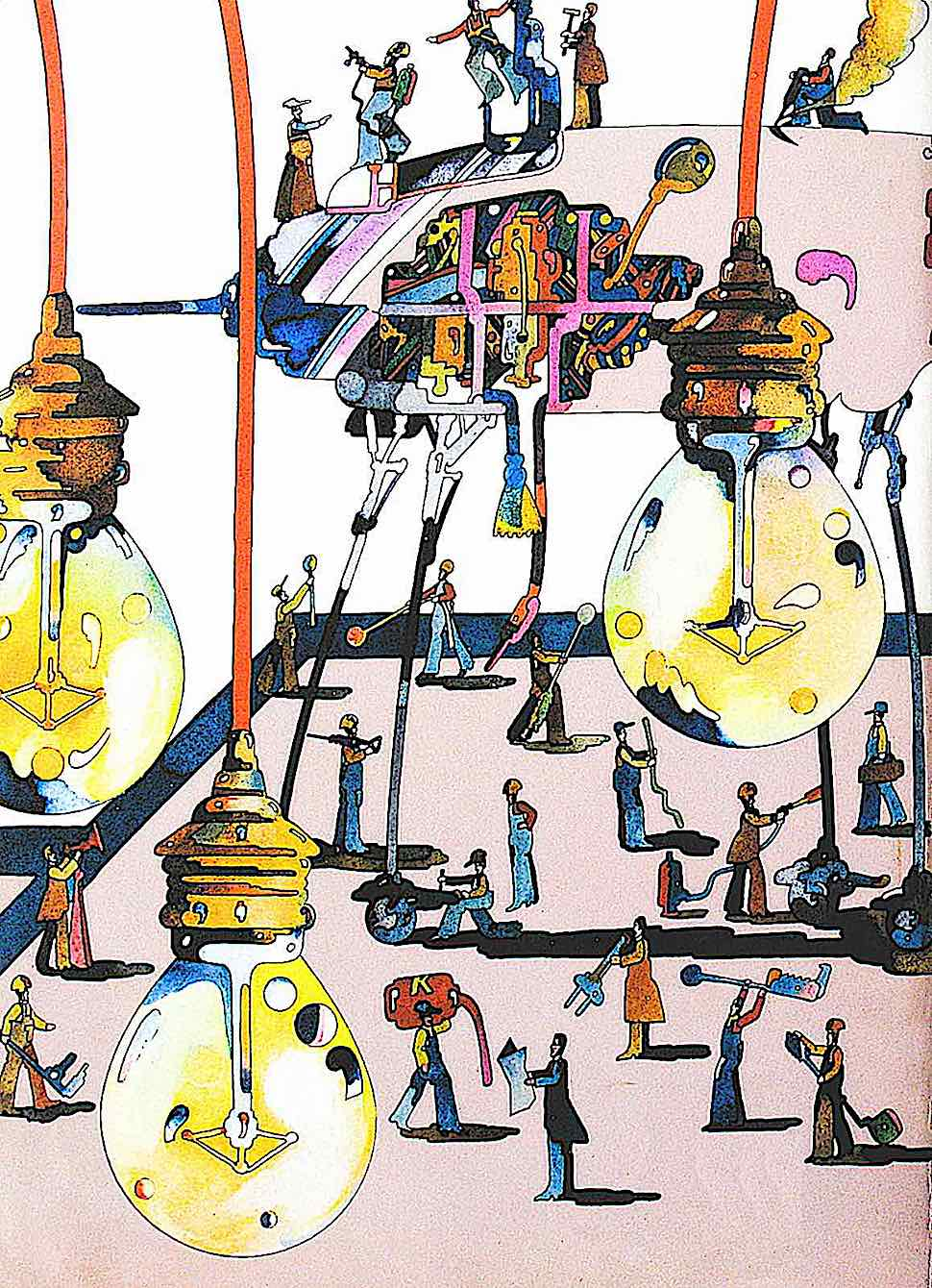 a Heinz Edelmann illustration of factory workers and hanging lights