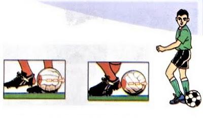 Menendang bola futsal dengan tumit