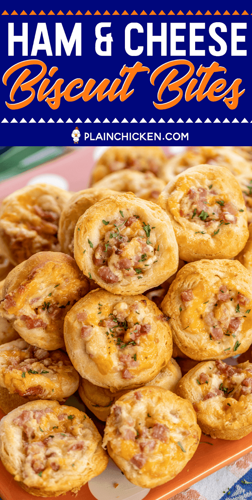Ham & Cheese Biscuit Bites - OMG! Seriously delicious!! Great for parties and tailgating! Ham, cheddar, swiss, cream cheese, dijon mustard, Worcestershire, brown sugar mixed together and baked in biscuits. I am totally addicted to these! I could not stop eating them! I am already planning on making them again this week! #appetizer #ham #partyfood #tailgating