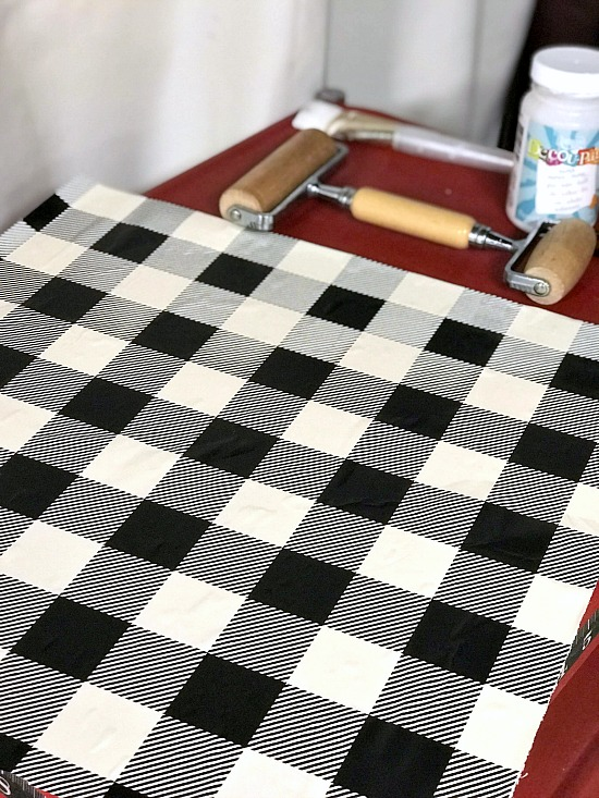 DIY Buffalo Check Cubbies with Wrapping paper