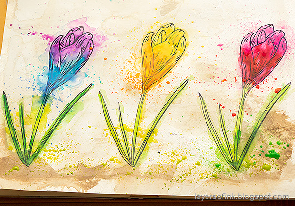Layers of ink - Colorful Floral Crocus Tutorial by Anna-Karin Evaldsson. Splatter the flowers with paint.