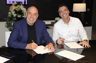 Na foto, Amilcare Dallevo Jr., presidente da RedeTV!, e Leo Dias - Crédito/Foto: Divulgação/RedeTV!