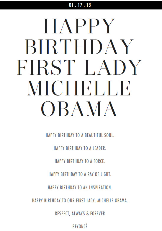 beyonce michelle obama birthday poem