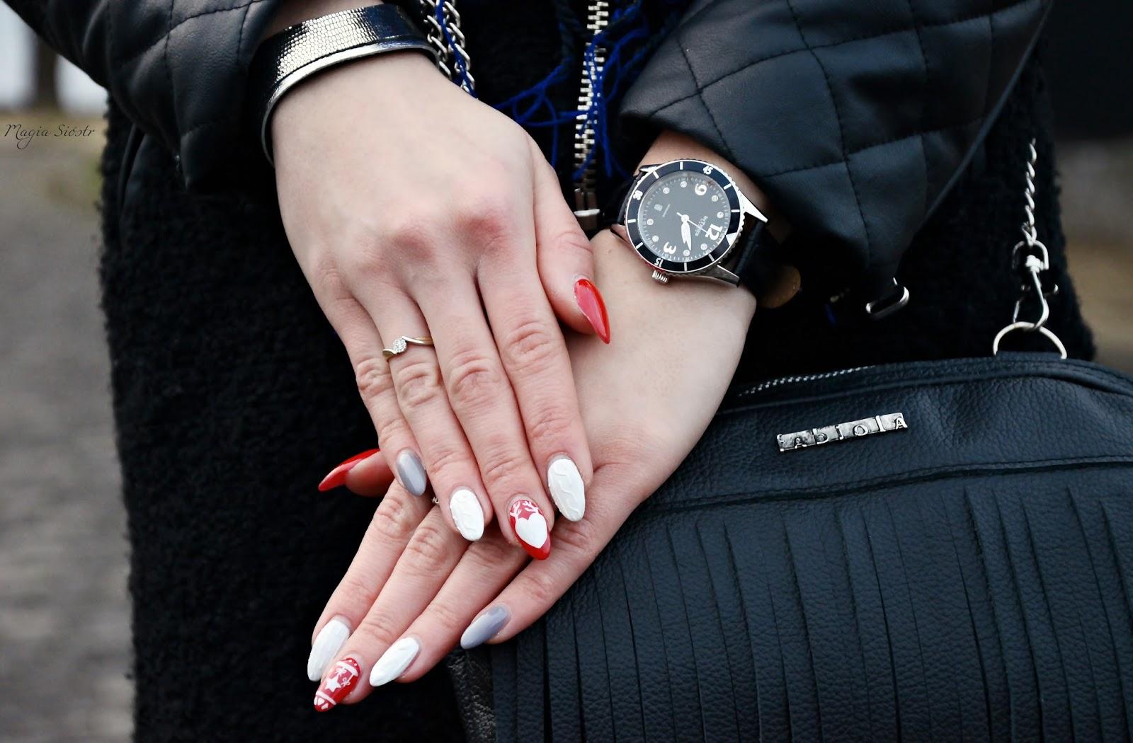 świąteczne paznokcie, coraz bliżej święta, biało-czerwone paznokcie, elegancki zegarek Intimes