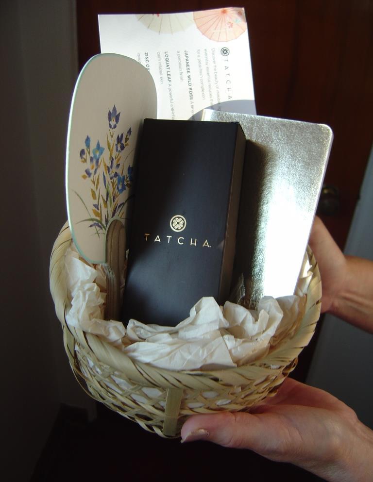 Tatcha sunscreen product basket