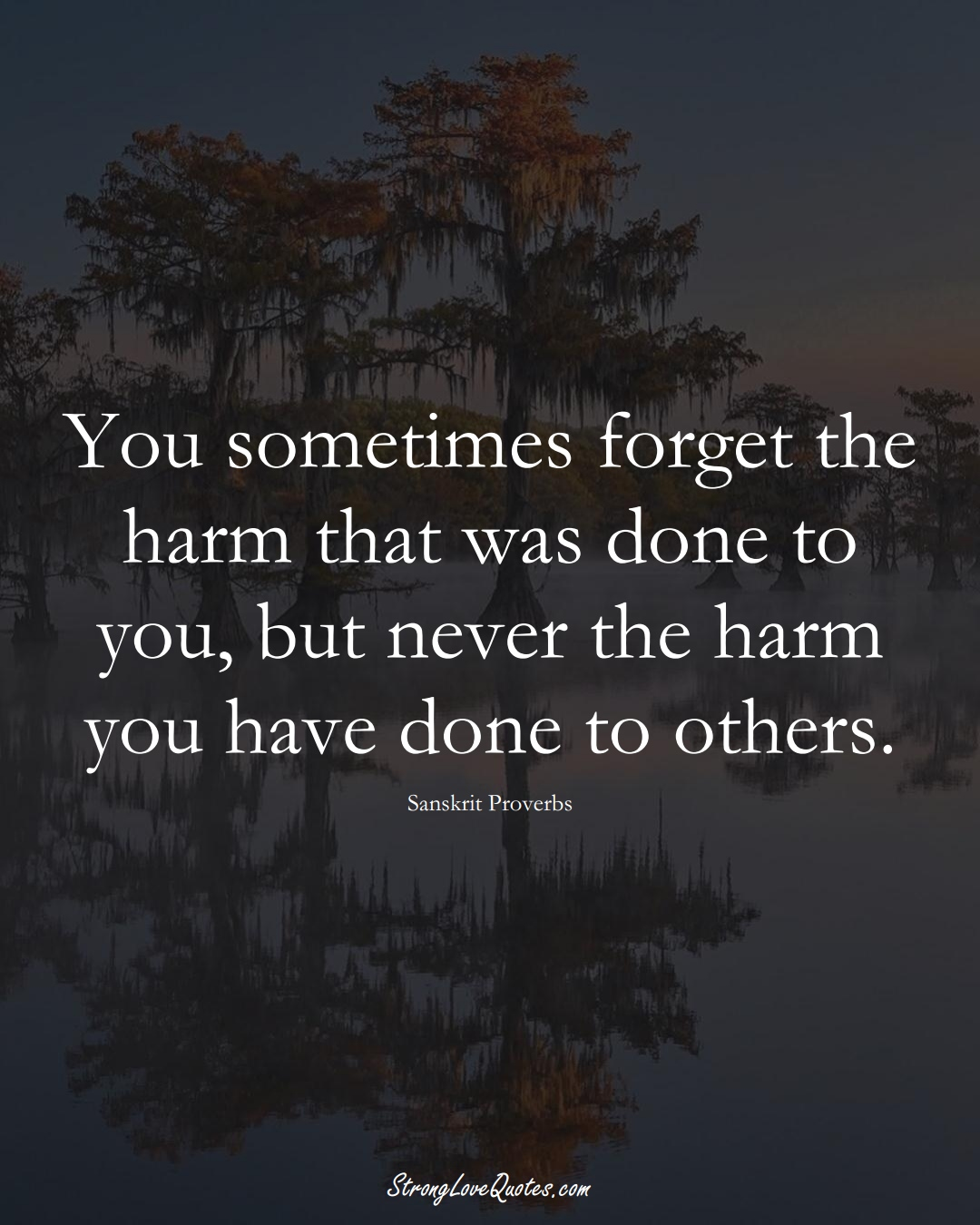 You sometimes forget the harm that was done to you, but never the harm you have done to others. (Sanskrit Sayings);  #aVarietyofCulturesSayings