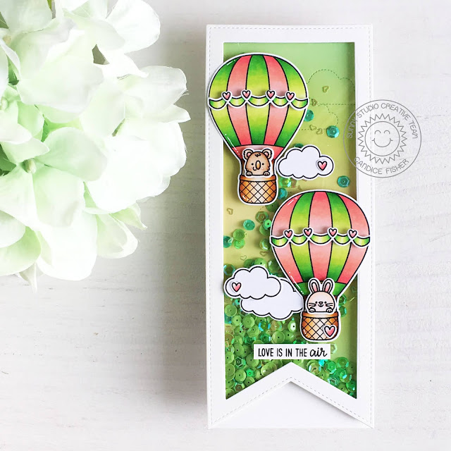 Sunny Studio Stamps: Slimline Dies Balloon Rides Fluffy Cloud Dies Everyday Shaker Card by Candice Fisher